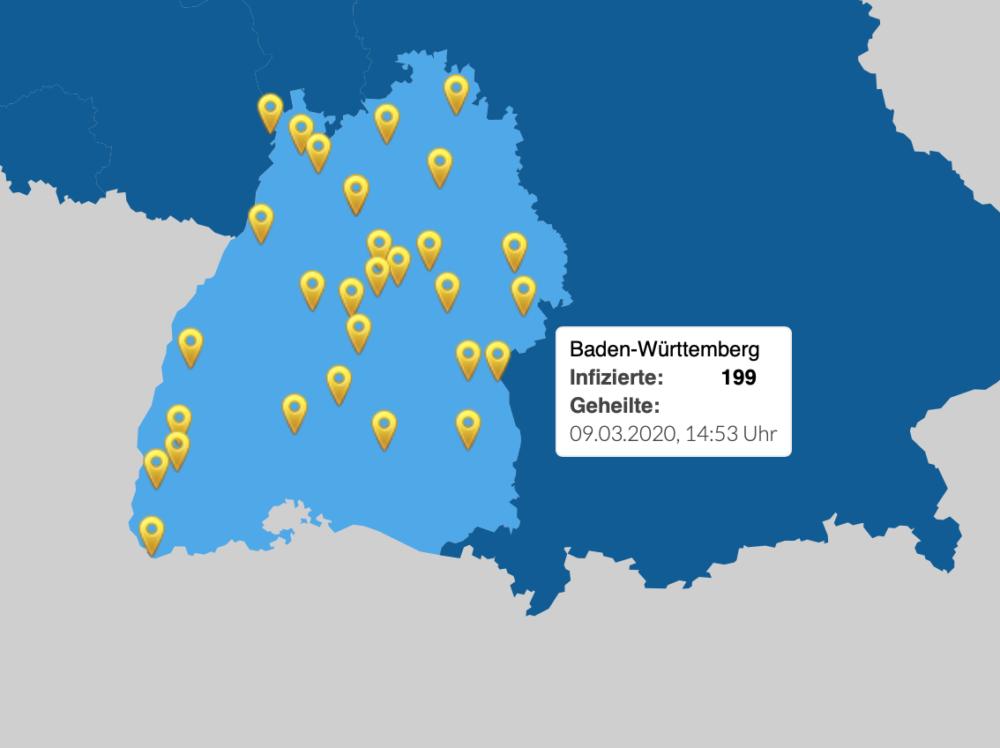 Karte Coronavirus Baden Württemberg